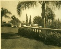 A.E Bell Gardens: terrace with boundary wall and relief planter [color scan]