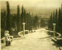 A.E Bell Gardens: stone terraced allée descending hillside [color scan]